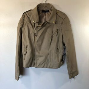 Coffeeshop Beige Faux-Leather Zippered Moto Jacket